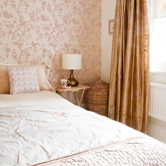Warm neutral bedroom | Bedroom decorating idea | Bedroom wallpaper | Image | Housetohome