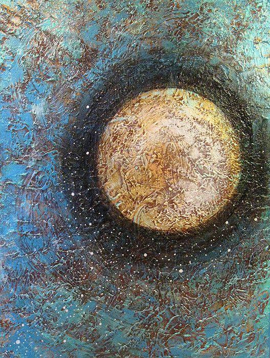 Buy Metallic Painting Spiritual Art Abstract Landscape Sun ...