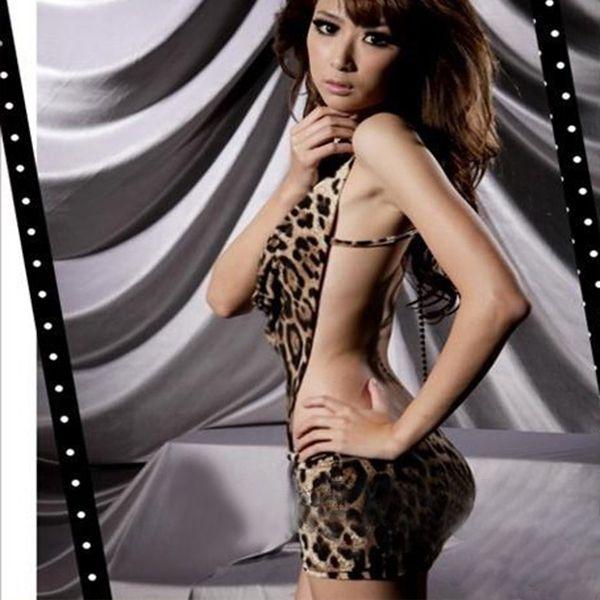 Sexy Leopard Women's One Piece Dress Lingerie V-neck Halter Backless Nightgowns & Sleepshirts