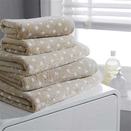 Hotel Living Design Polka Spot Bath Sheet, Sand