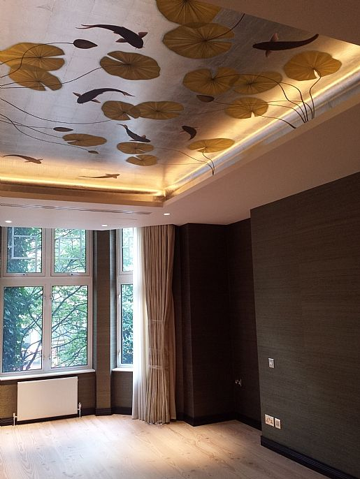 Koi Pond Mural - Japanese style mural on antiqued metal leaf. This ceiling  was commissioned for one of three ceilings in a Baker Street apartment.
