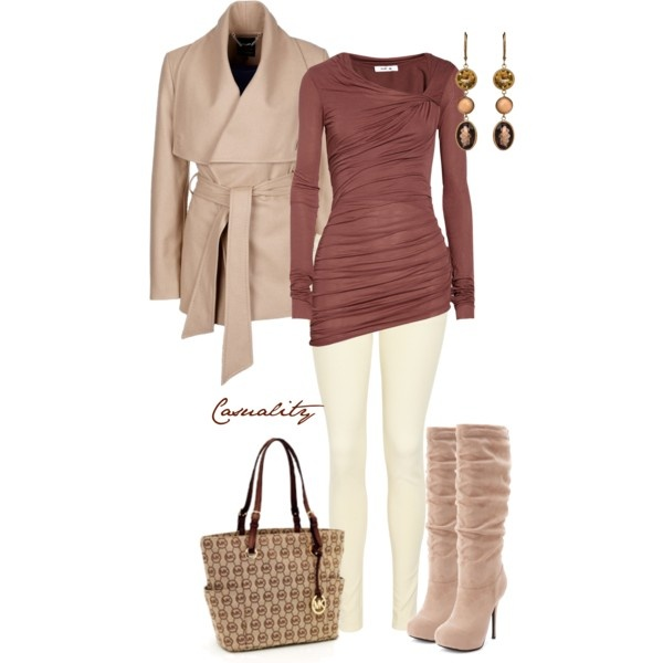 """Asymmetric Draped Top & Monogram Signature Tote"" by casuality on Polyvore"