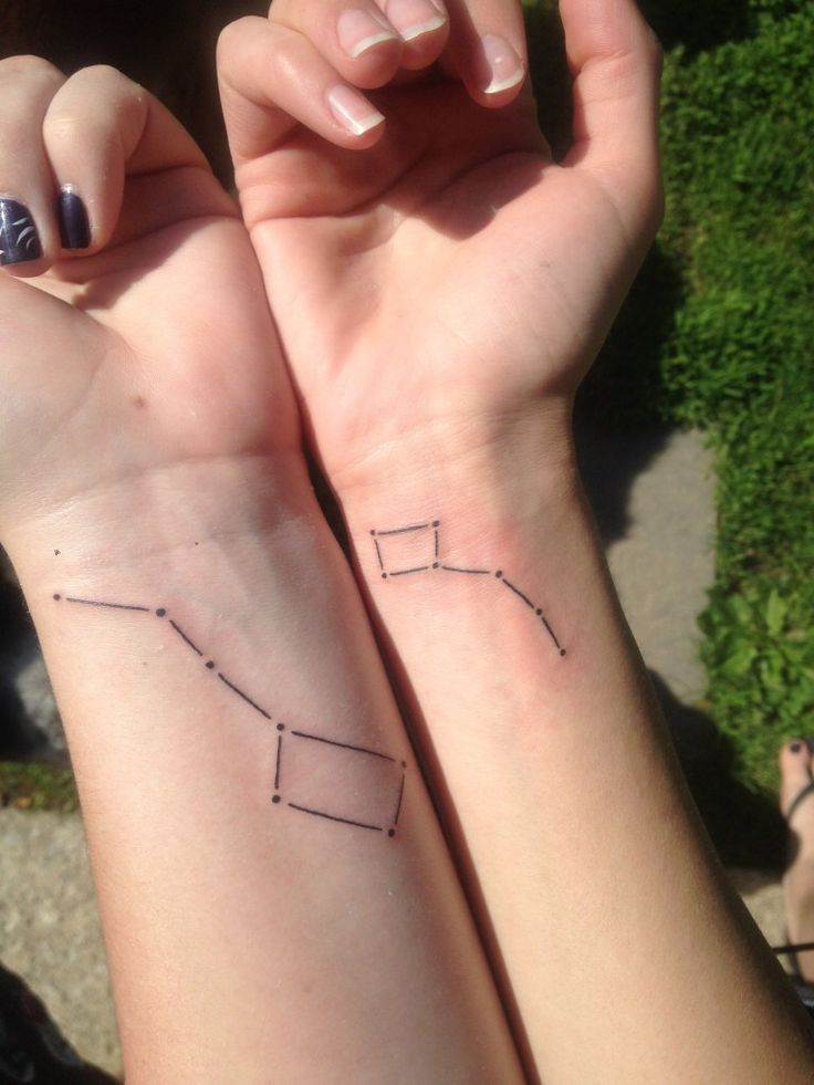 Big Dipper and Little Dipper tattoos to get with a friend or sister...
