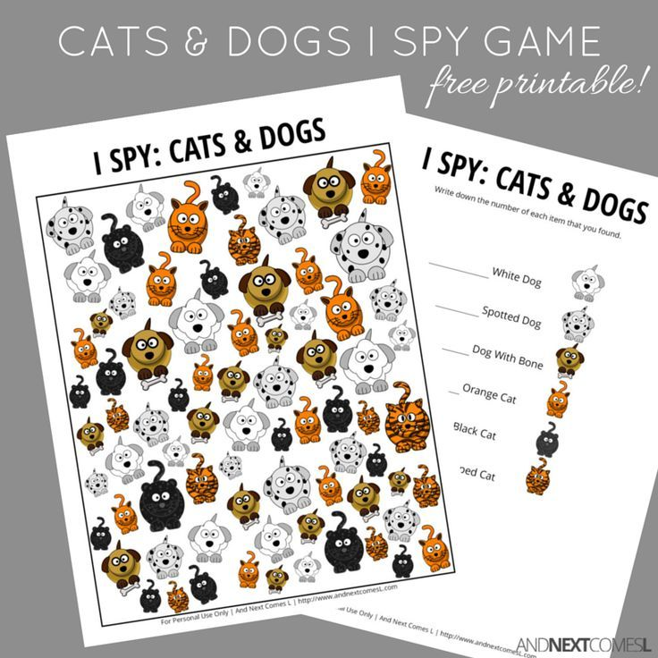 Free printable cats & dogs themed I Spy game for kids from And Next Comes L