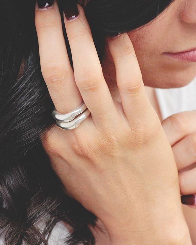 Wear them individually or stack them up in twos or threes - The organically shaped Living Rings! #uberkate #personalisedjewellery