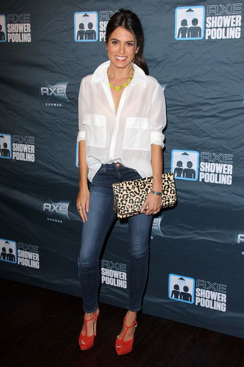 White Blouse with Jeans,Red Shoes and Animal Print Clutch