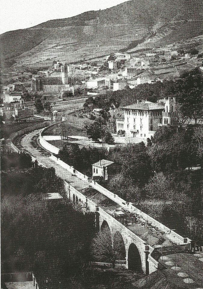 Puente Paseo Elisenda 1906-1910. Casa veraneo familia Pons Arola y monasterio de Pedralbes