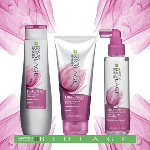 NEW| Biolage Full Density Shampoo, Conditioner and Thickening Spray! FullDensity works on each strand of hair to expand the diameter, causing hair to feel thicker while reducing breakage for fuller-looking, thicker-feeling hair.