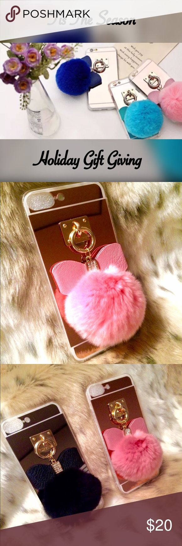 ✨New Rose Gold IPhone 7 Plus Flexi Case Stay stylish & protected with this soft, Rose Gold mirrored, pink rabbit fur flexi case adorned with a studded faux leather bow!  Very flexible, easy to grip, & aesthetically pleasing to the eye! The perfect holiday gift! Order yours today! Offers welcome! Accessories Phone Cases