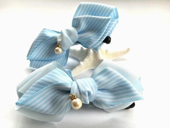 爽やかソーダ水♡バナナクリップ(滑り止め付き)♡水色、コットンパール、ストライプ ヘアアクセサリー ribbonbow ハンドメイド通販・販売のCreema