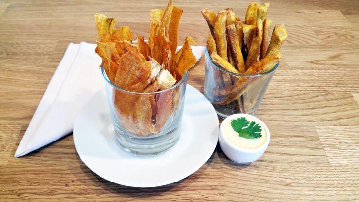 Plantainové chipsy a hranolky