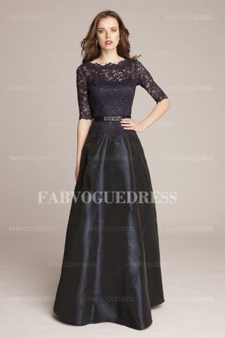A-Line/Princess Jewel Floor-length Satin Lace Mother of the Bride Dress