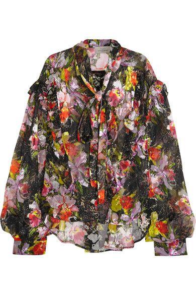 Preen by Thornton Bregazzi - Cora Printed Devoré Silk-blend Chiffon Top - Black -