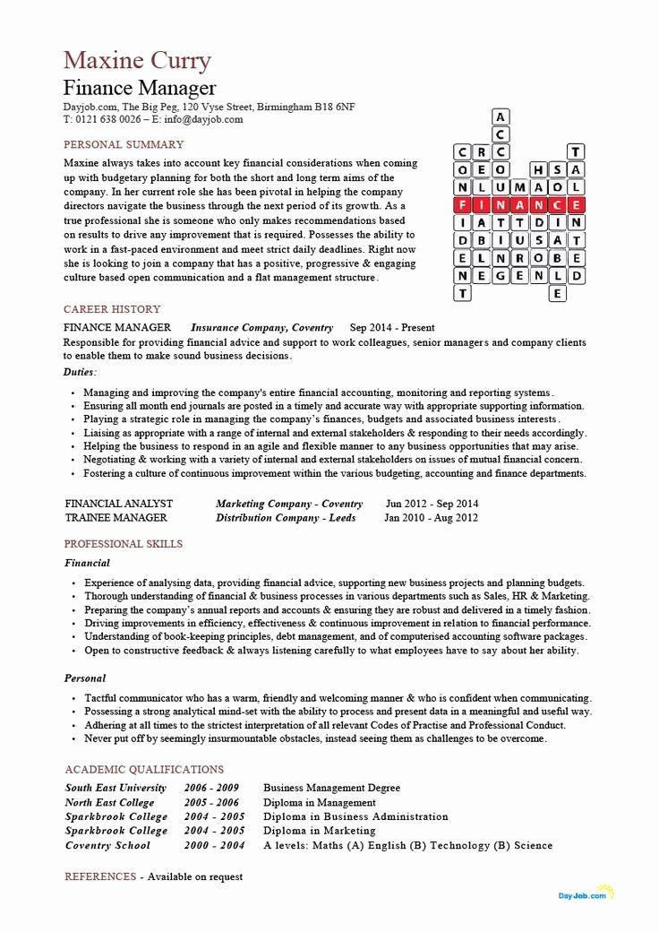 Auto Finance Manager Resume Inspirational Finance Manager Resume Cv Example Crossword Template Resume Words Resume Examples Finance