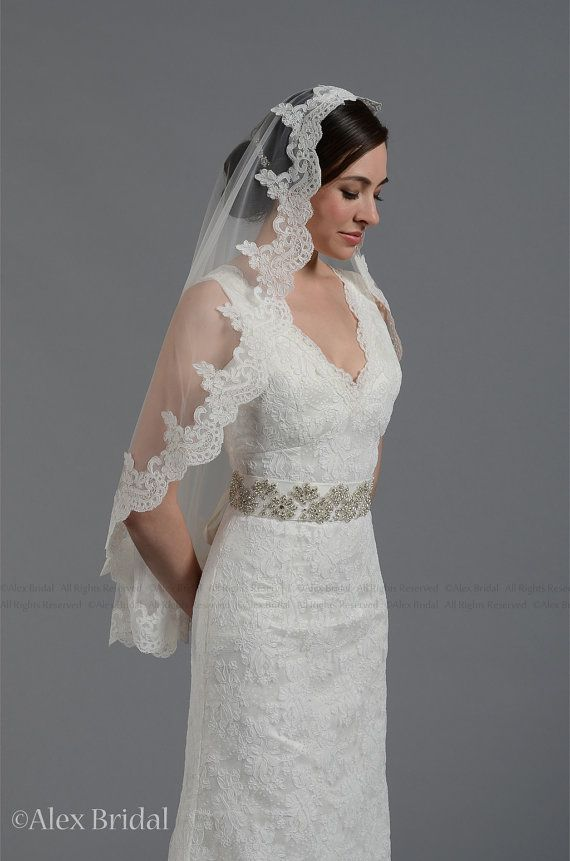 wedding bridal lace mantilla veil 45x36 elbow length alencon lace - available in white and ivory