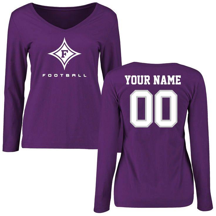 Furman Paladins Women's Personalized Football Slim Fit Long Sleeve T-Shirt - Purple - $42.99