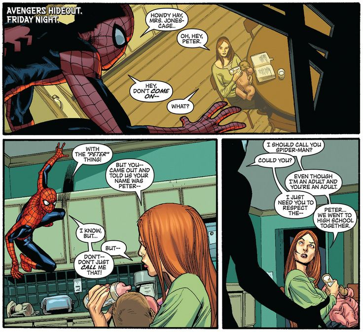 Spider-Man and Jessica Jones (New Avengers #55, 2009),  Art by Stuart Immonen, Wade von Grawbadger & Dave McCaig