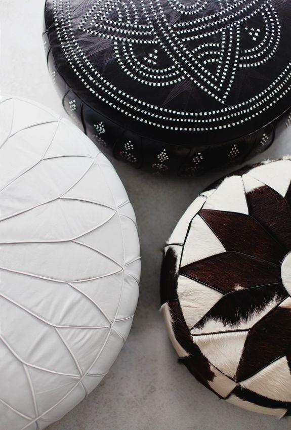10 musthaves voor je interieur in 2014, nr.9: Marokkaanse leren poef - Helemaal hip dit jaar: de leren ! an trendy wit glanzend tot authentiek bruin met een dessin.