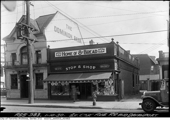 Stop and Shop, Avenue Road and Dupont, Toronto, Canad. #vintage #supermarket #shopping #1930s