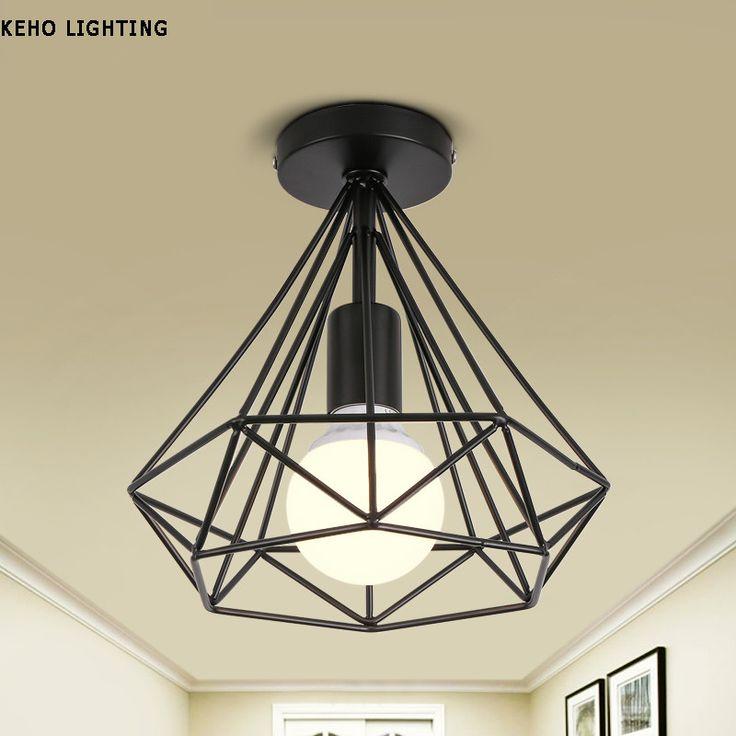 Simple Creative E27 ceiling lights  iron minimalist retro ceiling lamp Scandinavian loft pyramid lamp metal cage with led bulb