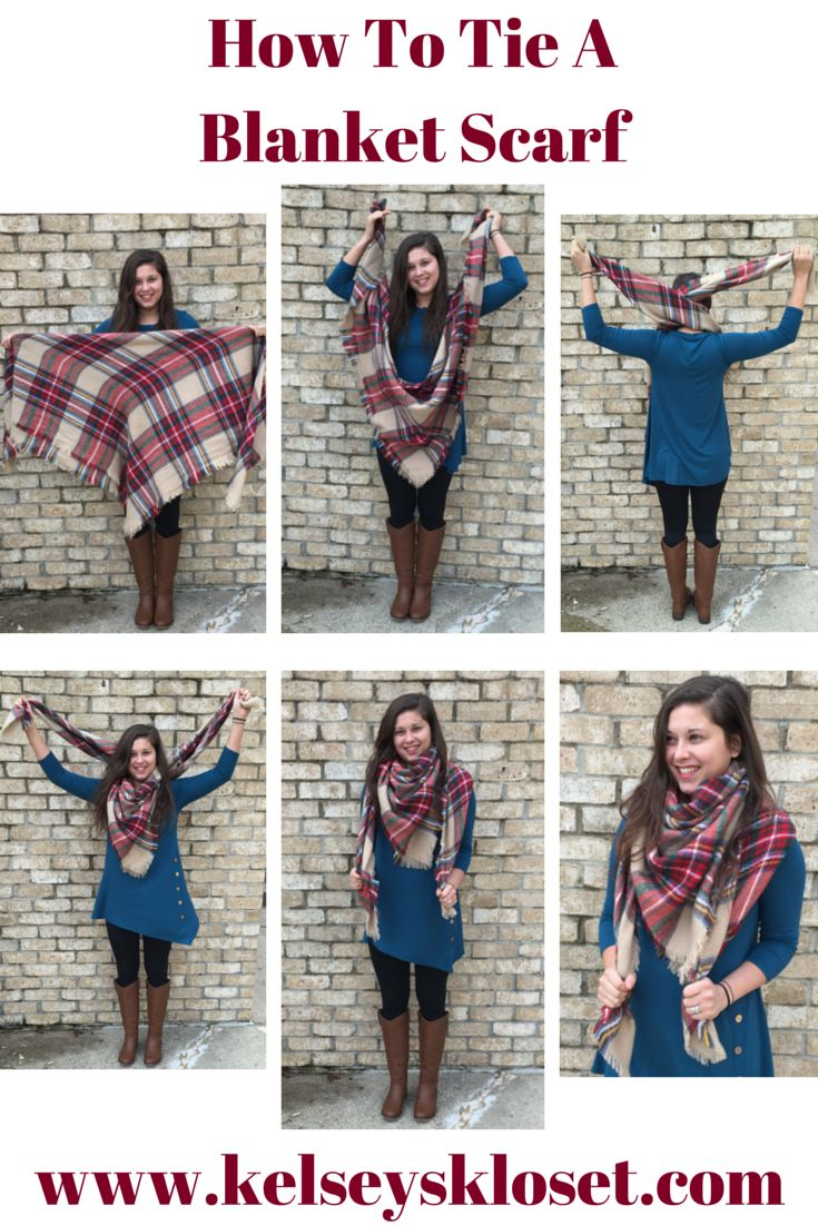 Follwo these pictures & a video on our blog to show you how to tie a blanket scarf! http://www.kelseyskloset.com/blogs/news/18853143-the-blanket-scarf