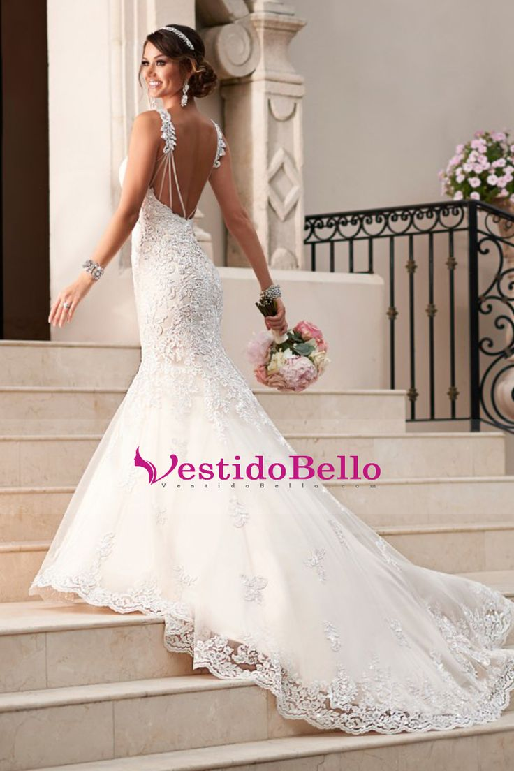 2016 de la sirena de la boda vestidos de novia de tul con apliques Y Granos tribunal tren