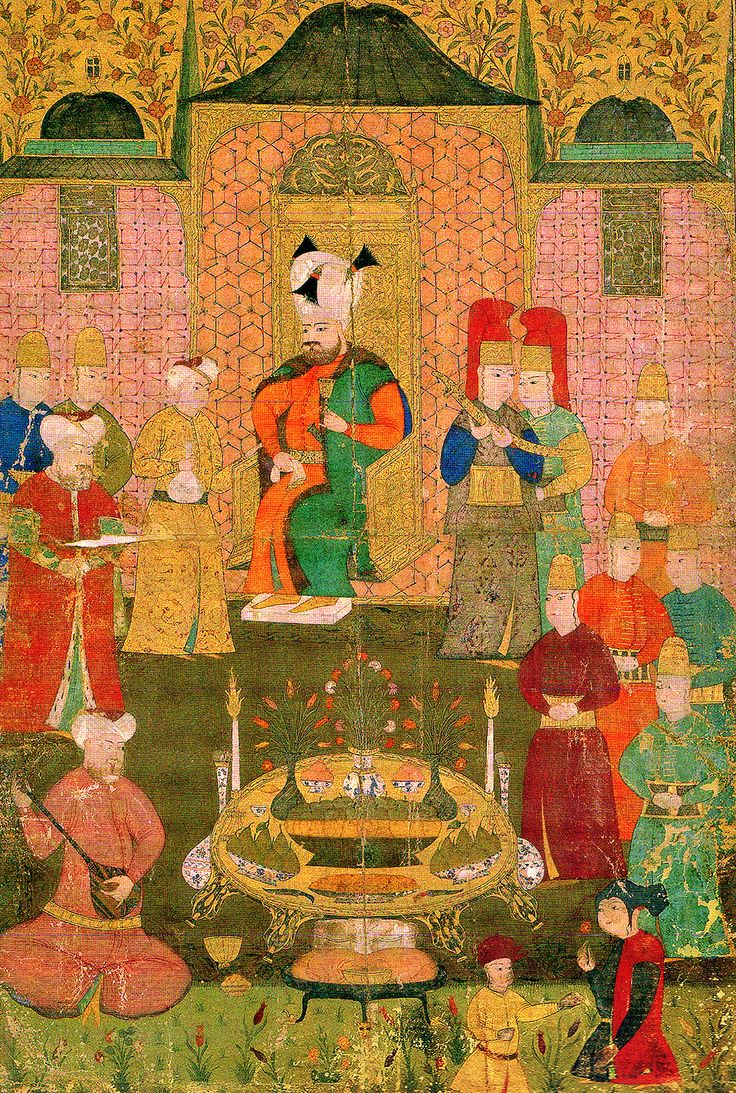 Sultan Murad IV at a dinner with music and drinking. Mid 17th century. TSM H2148, y. 11b. Sultan IV. Murad müzikli ve içkili bir yemekte. 17. yüzyılın ortaları. TSM H2148, y. 11b.