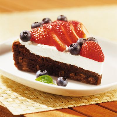 Enjoy a patriotic treat with this recipe for <i>Red, White and Blueberry Torte</i>.  Bursting with chocolate morsels, the cake-like bottom is layered with a fluffy cream cheese and whipped topping mixture, and decorated with colorful, fresh fruit.  It's sure to create fireworks at any party!