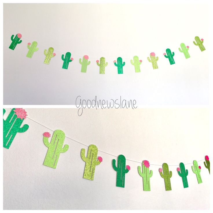 Taco Bout a Party Glittery Cactus Garland, Cactus Party Decor, Taco Party decor, Fiesta Party Decor, Cactus taco party