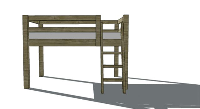 Free DIY Woodworking Plans for Building a Loft Bed: The Design Confidential's Free Twin Low Loft Bed Plan