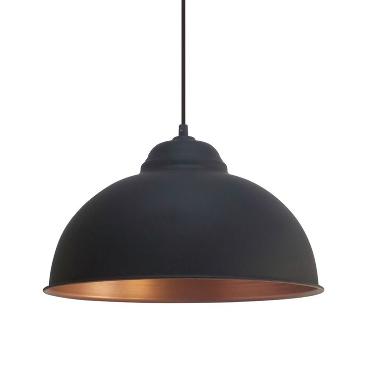 Vintage Black 370 Pendant Light, the shade has a Copper Inner Colour. This light fitting adds a Retro Style to any room with its unique design. Eglo 49247