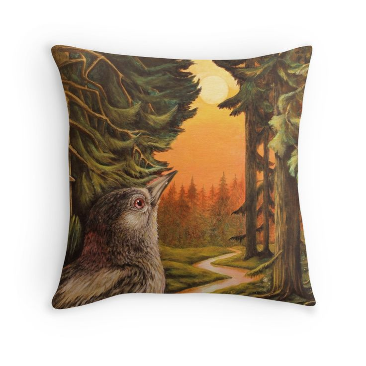 This pillow design has a beautiful painting of a woodpecker looking at a sunset in a pine tree forest.