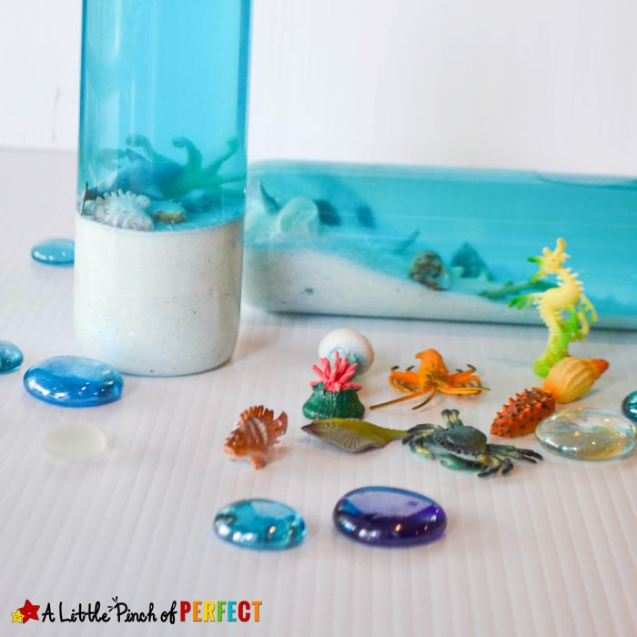 Make mini aquarium sensory bottles so kids can tap on the aquarium wall without getting in trouble as they shake up someocean animals, make some waves, and learn about the creatures of the sea. As kids shake up their aquariums they can find and name ocean animals. My kid's picked out a variety of ocean …