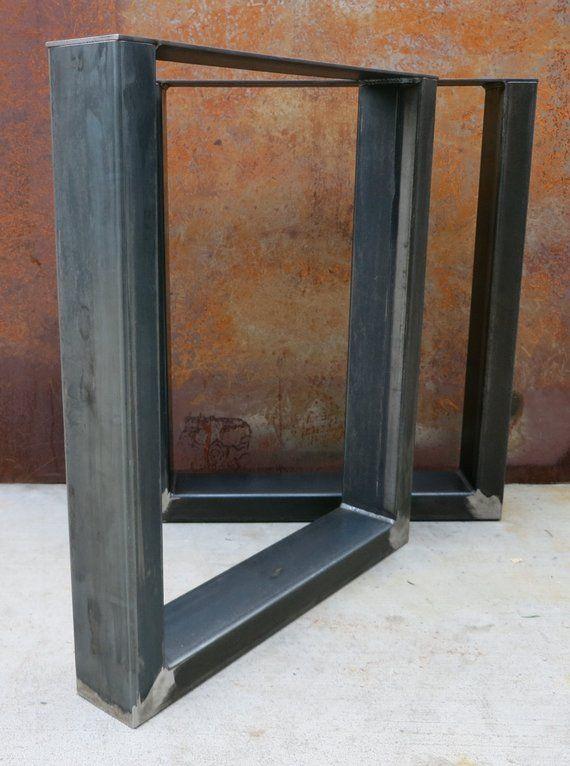 Thick Industrial U Shape Metal Table Legs 4x2 Metal Table Metal
