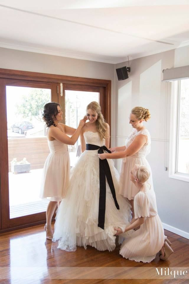 Me and my beautiful bridesmaids... mismatch  bridesmaid dresses but all in the same colour and my wedding dress, Vera Wang Eliza.