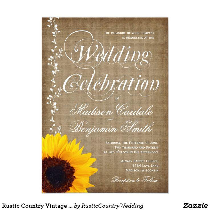 sunflower wedding invitations printable%0A Rustic Country Vintage Sunflower Wedding Invites