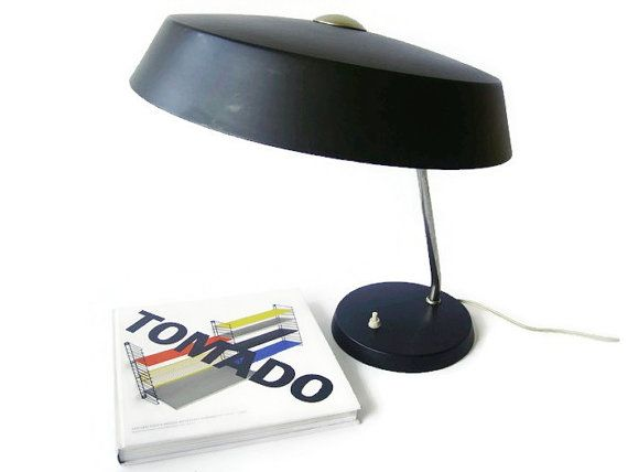 Mid Century Modern desk lamp, black and chrome, Philips Made in Holland
