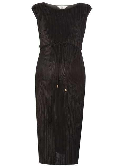 **Maternity Black Plisse Tie Midi Dress - Maternity Clothing - Clothing - Dorothy Perkins