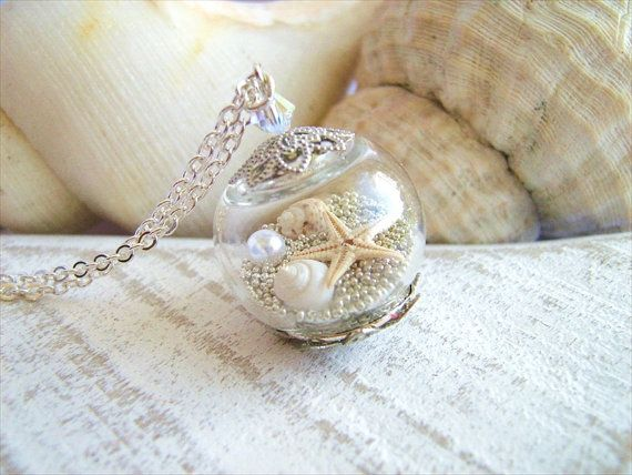 Starfish Necklace, Real Seashell Jewelry, Hollow Glass Globe, Beach Wedding Jewelry, Bridesmaids Necklace