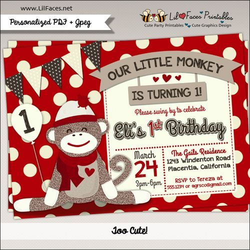 Sock Monkey Birthday Party Printable Invitations
