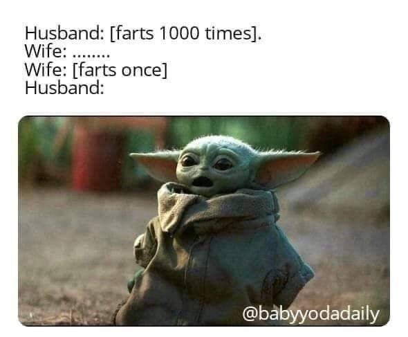 Husband Vs Wife Farts Lol Baby Yoda Yoda Meme Yoda Funny Star Wars Jokes