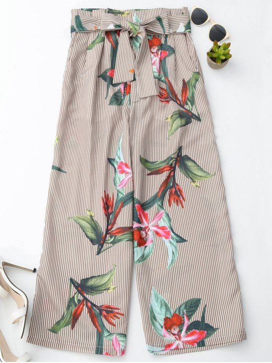 Floral Striped Wide Leg Pants With Belt - STRIPE M