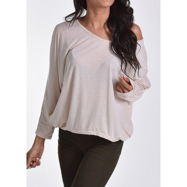 Rotita Beige Oversized Loose Batwing Sleeve T Shirt ($18) ❤ liked on Polyvore featuring tops, t-shirts, khaki, print t shirts, loose fitting t shirts, spandex t shirts, round neck t shirt and print tees