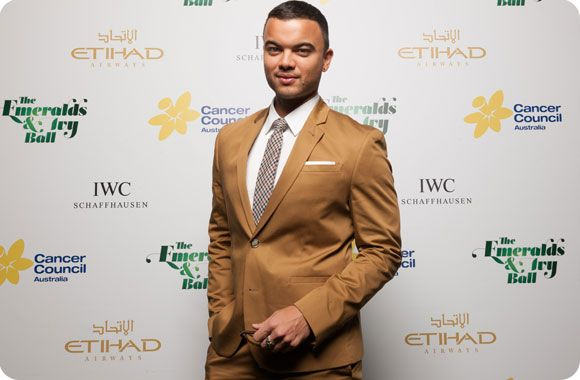 Guy Sebastian on the red carpet at Cancer Council's Emeralds & Ivy Ball