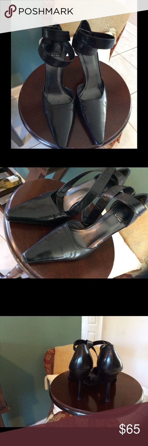 STUART WEITZMAN LEATHER HEELS SEXY LEATHER SHOES WITH STRAPS CRISSCROSSING THE ANKLES! VERY GOOD CONDITION! SOFT BEAUTIFUL LEATHER. Stuart Weitzman Shoes Heels