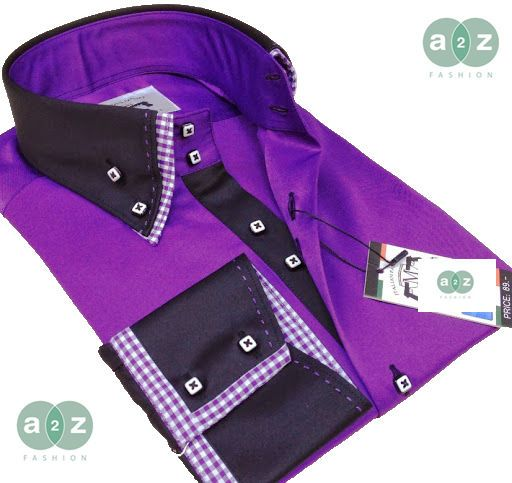 New mens formal smart purple black check double collar for Italian dress shirts brands