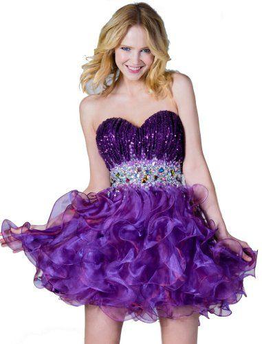 Strapless Sequin Short Sweet 16 Dress ~ cute!