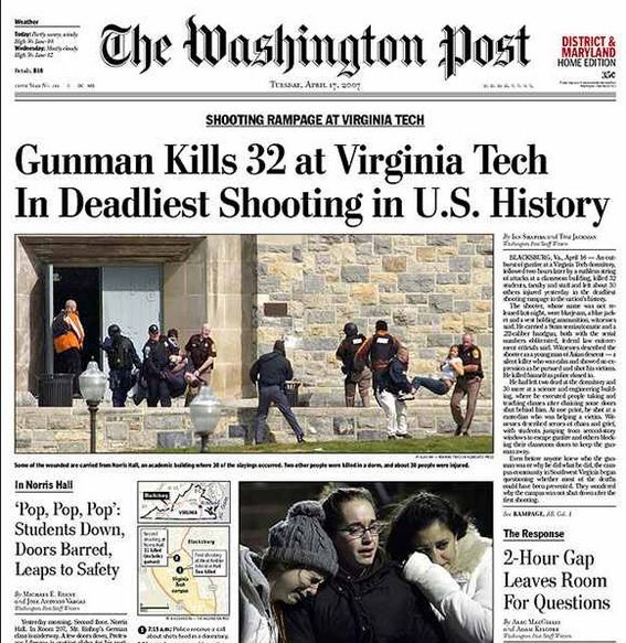 """2007:A US shooting rampage at the Virginia Tech university has left 33 people, including a suspected gunman, dead. There were two incidents two hours apart, at a student dorm where two were killed and at an engineering building where 30 and the gunman died.""""Schools should be places of safety and sanctuary and learning. When that sanctuary is violated, the impact is felt in every American classroom and every American community,"""" George W Bush"""