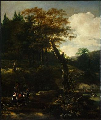 Wooded Landscape with Travelers by Adam Pynacker