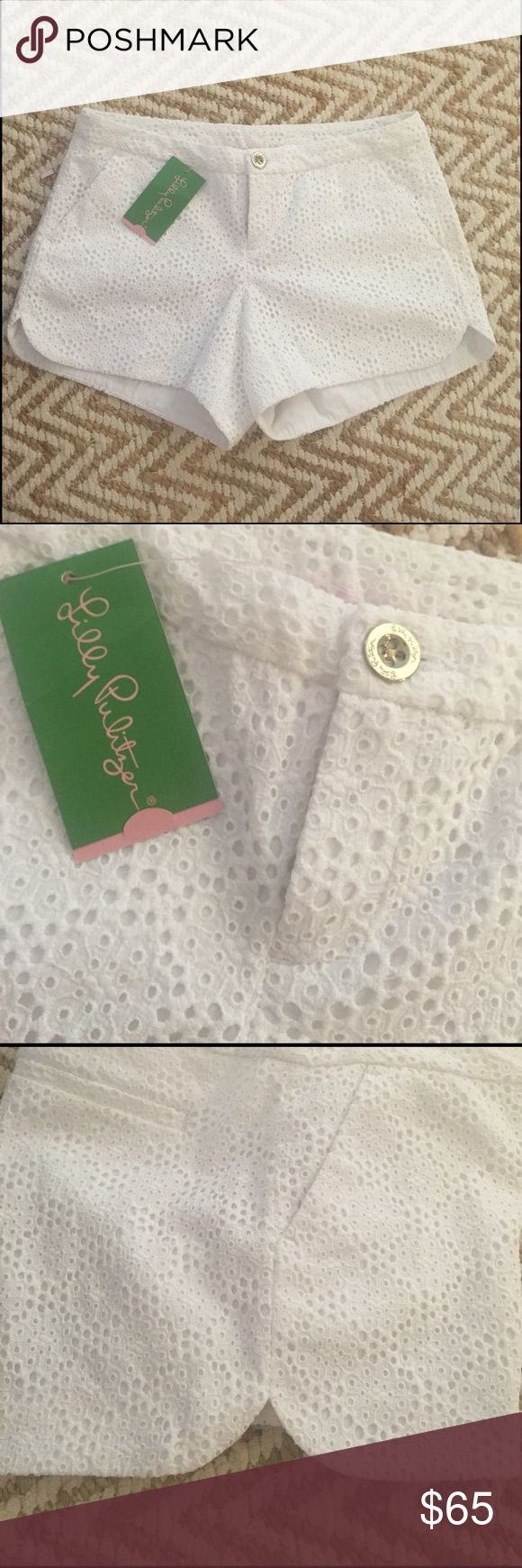 NWT Lilly Pulitzer Adie white eyelet shorts 0 Never worn NWT Lilly Pulitzer Adie shorts in a super cute white eyelet fabric. These shorts are seriously adorable!!!!!! The sides have a sort of rounded edge as shown in the photos. Unfortunately these are just a bit big for me so I'm selling! Open to reasonable offers, no trades ☺️ Lilly Pulitzer Shorts